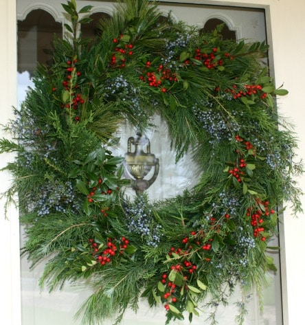 Christmas Wreath made with live greenery