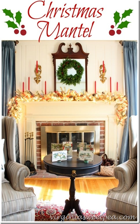 Christmas Mantel with red, green and gold. virginiasweetpea.com
