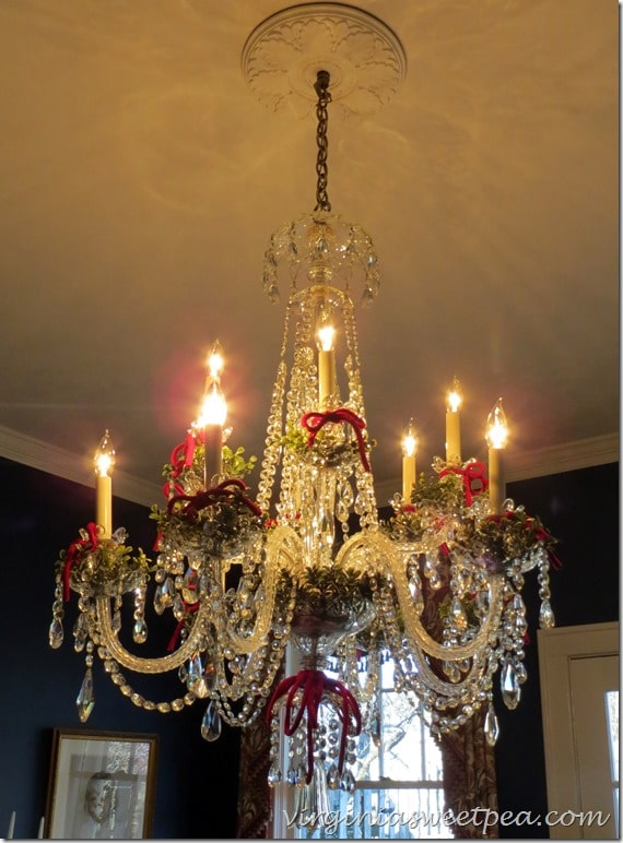 Chandelier Decorated for Christmas on the 2015 Waynesboro, VA Historic Homes Tour.