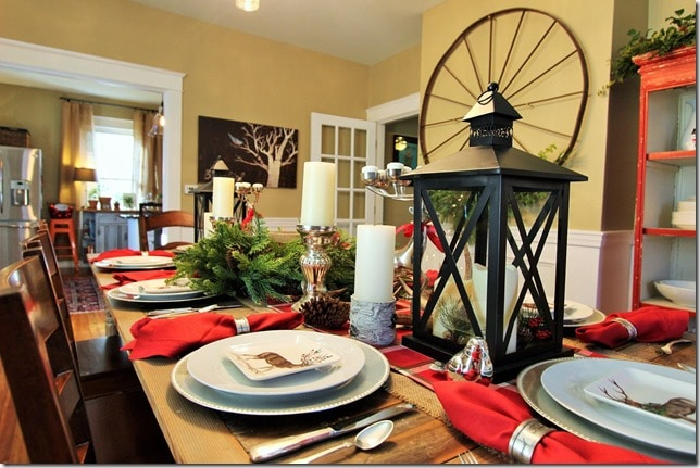 Farmhouse Style Dining Room Decorated for Christmas