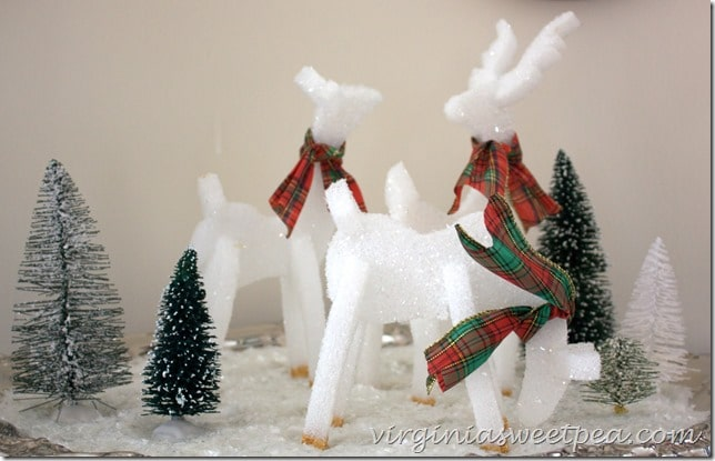These adorable reindeer are made from styrofoam!