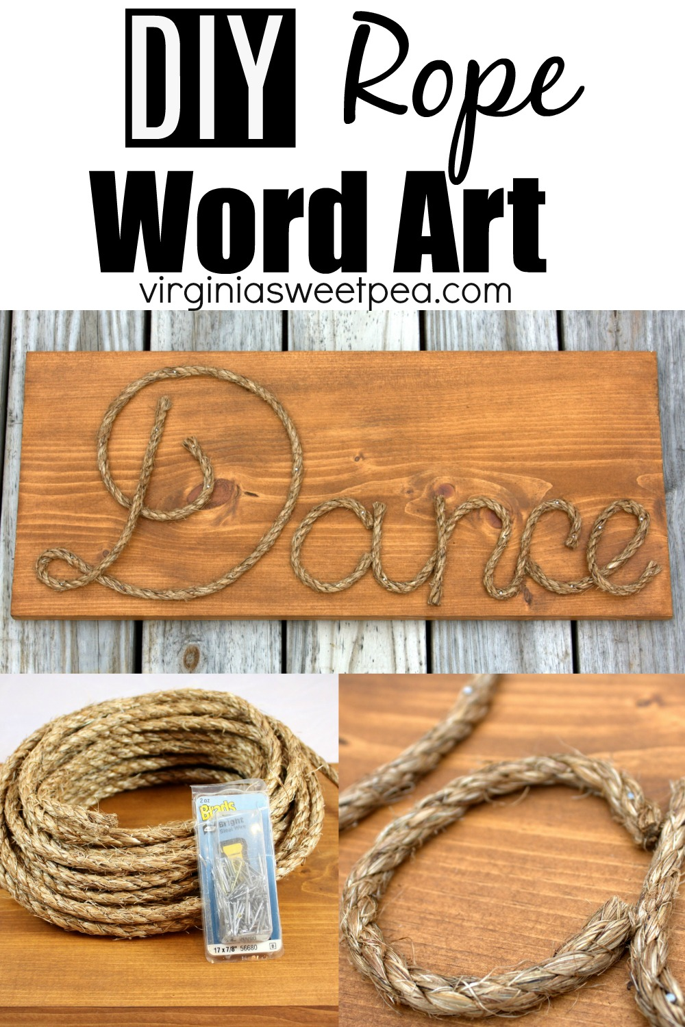 DIY Rope Word Art - Use rope to make personalized word art.  This is a fun project that makes a great gift.  #rope #ropeart #ropeidea #ropecraft via @spaula