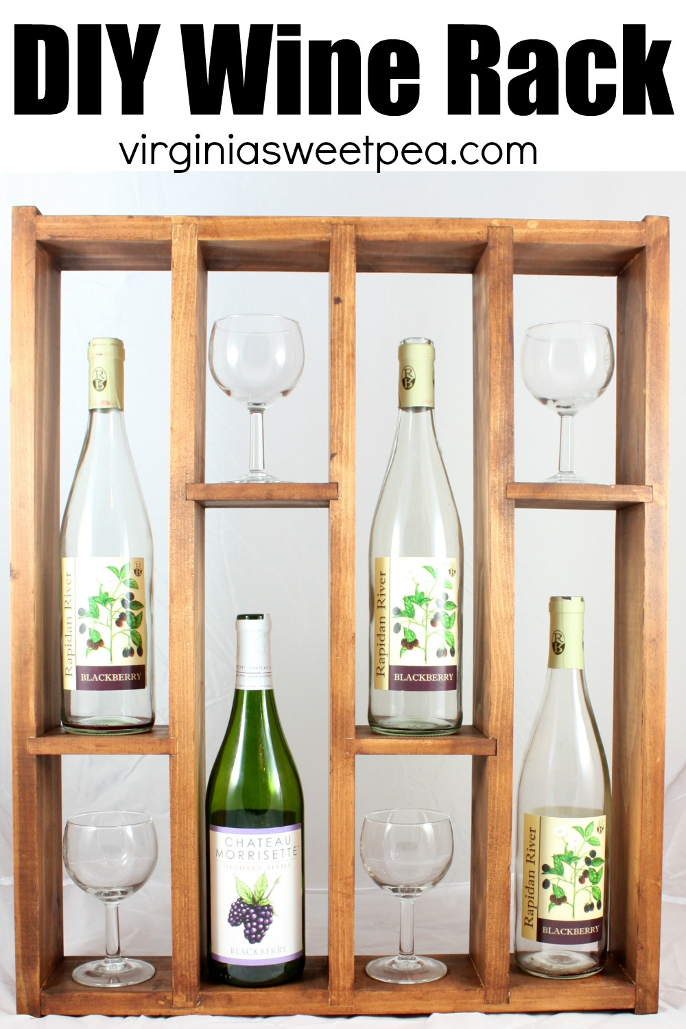 DIY Wine Rack - Learn how to make a DIY wine rack to use to both store & display your favorite wine bottles and glasses.  Hang it on a wall or use it on a flat surface.  #diywinerack #winerack #buildawinerack via @spaula