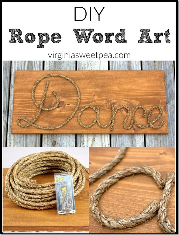 DIY Rope Word Art - Make personalized art with rope!  Get the tutorial at virginiaswetpea.com