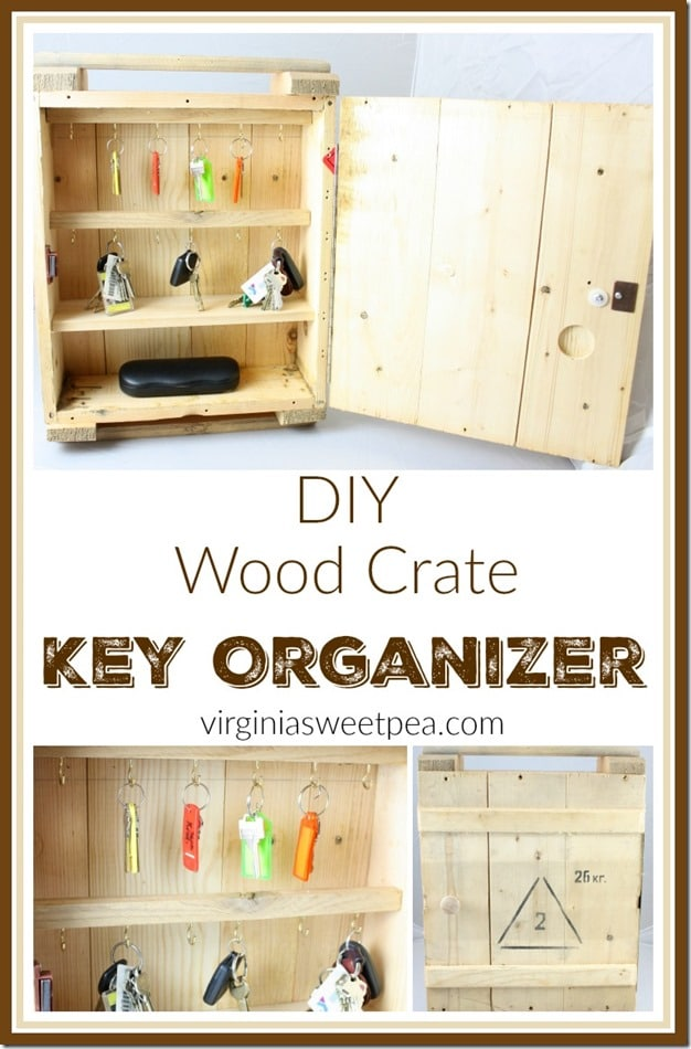 DIY Wood Crate Key Organizer - Make a crate cabinet to store and organize your keys. See more at virginiasweetpea.com.