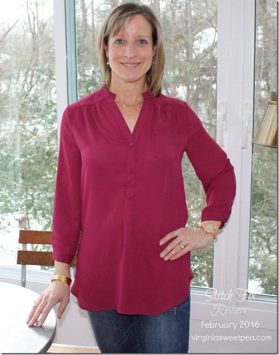 February 2016 Stitch Fix Review - 41Hawthorn Colibri Solid Tab Sleeve Blouse-virginiasweetpea.com