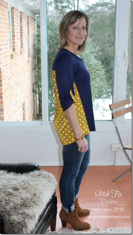 February 2016 Stitch Fix Review - Pixley Dido Mixed Print Knit Top - Side View- virginiasweetpea.com