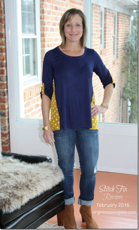 February 2016 Stitch Fix Review - Pixley Dido Mixed Print Knit Top with Kut From the Kloth Kate Distressed Boyfriend Jean - virginiasweetpea.com