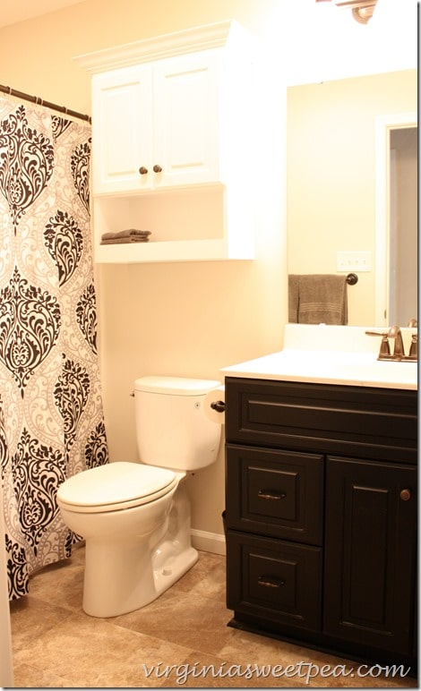 Guest Bath at SML - Shower curtain is the Chelsea Paisley Print Microfiber from Target.