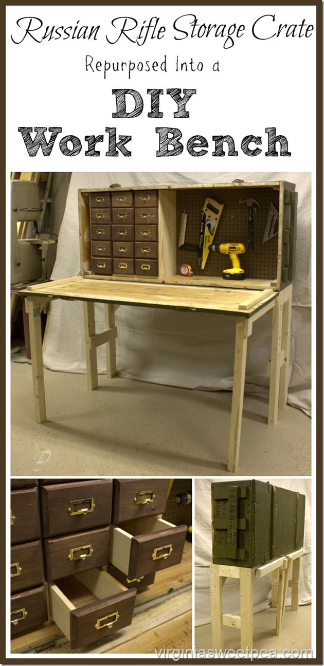 Russian Rifle Storage Crate Repurposed Into a DIY Work Bench. What a great upcycle! virginiasweetpea.com