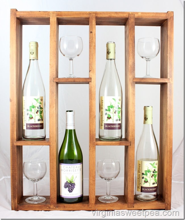 DIY Wine Rack - Follow this step-by-step tutorial to make a wine rack that displays favorite wines and glasses.