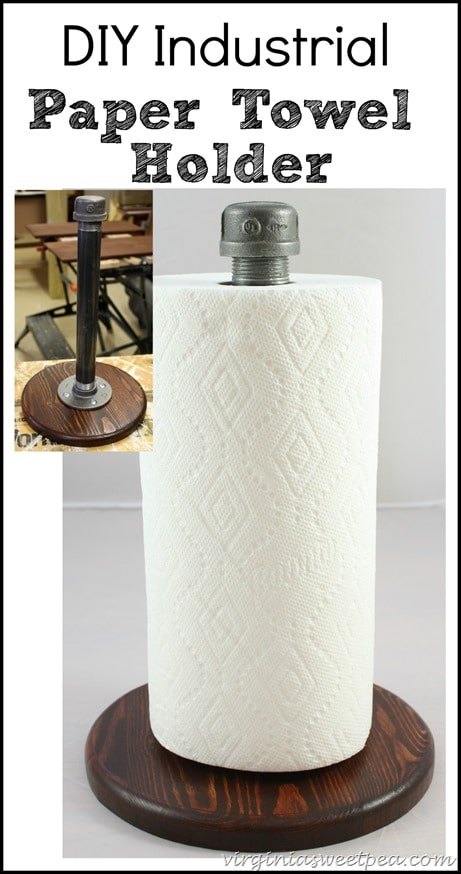 DIY Industrial Style Paper Towel Holder by virginiasweetpea.com
