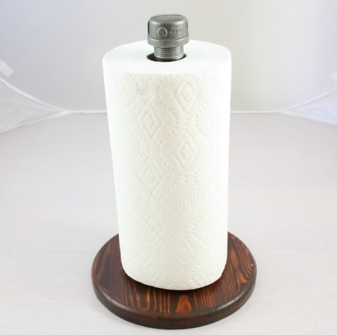 Learn how to make an industrial style paper towel holder.