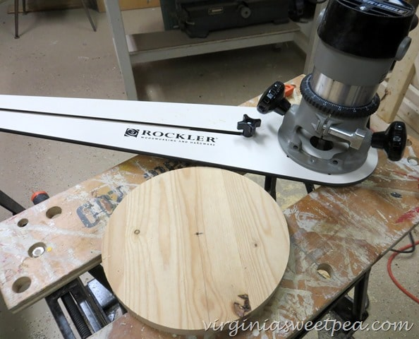 Rockler Circle Cutting Jig Used to Make the Base for a DIY Industrial Paper Towel Holder