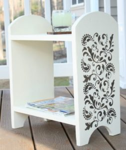 Paint and Stenciling give a shelf a fresh look.