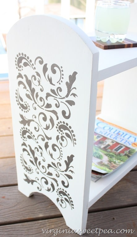 Stenciled Shelf - A Makeover with paint and metallic stenciling