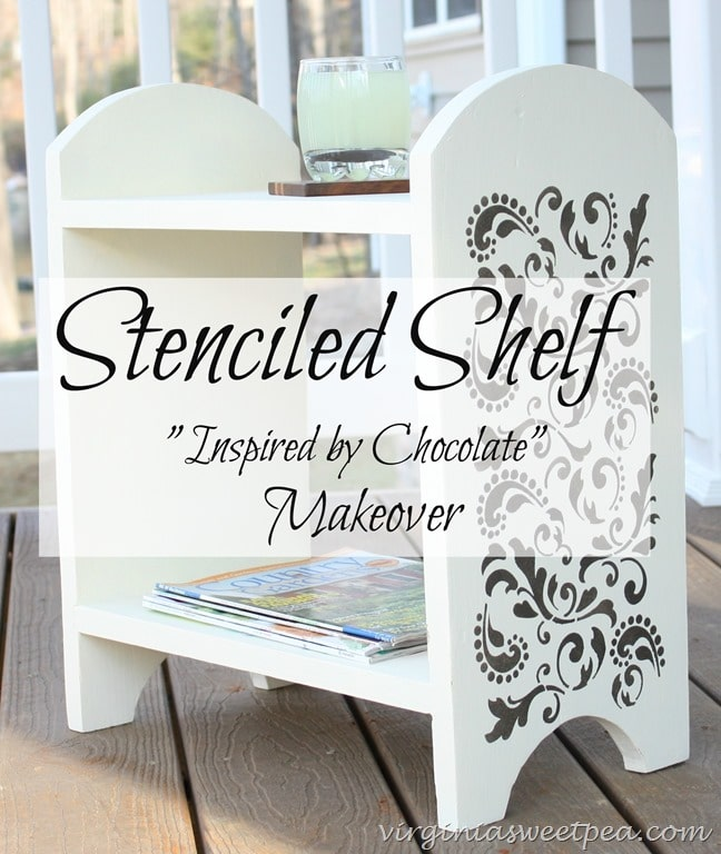 Stenciled Shelf Makeover - A 1960's handmade shelf gets a makeover with paint and stenciling. virginiasweetpea.com