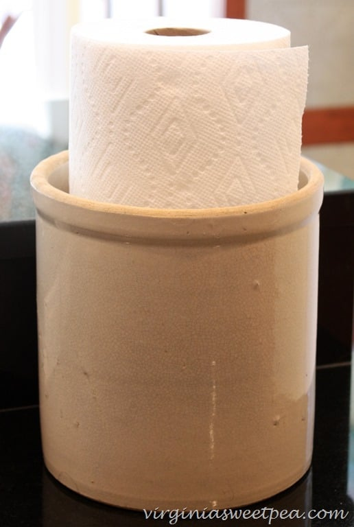 Use an Old Crock for a Paper Towel Holder