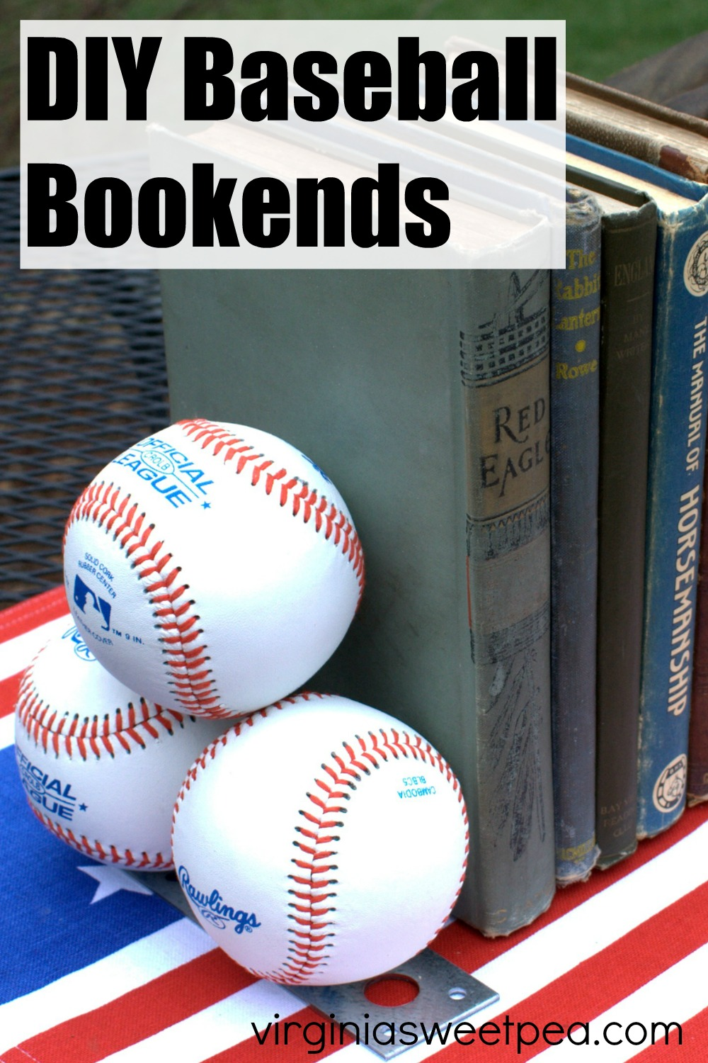DIY Baseball Bookends - Learn how to make bookends using baseballs.  This is a project that any baseball lover will appreciate!  #baseball #baseballDIY #baseballhomedecor #baseballbookends via @spaula