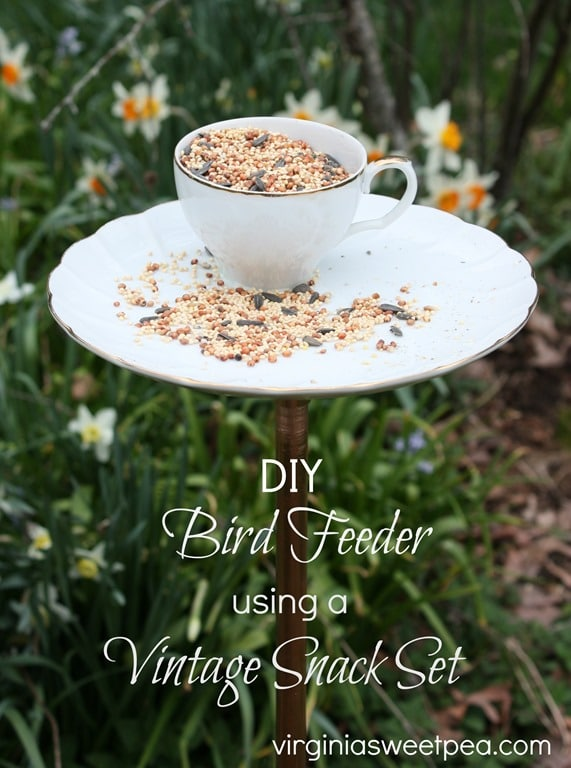 DIY Bird Feeder Using a Vintage Snack Set - Learn how to make your own. This is an easy DIY! virginiasweetpea.com