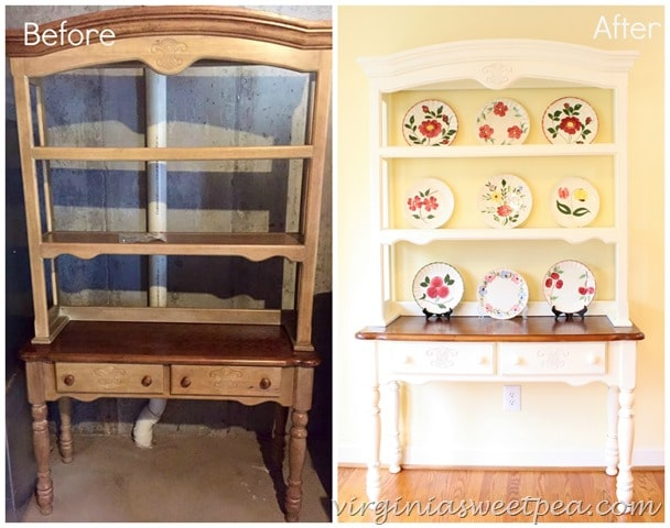 A farmhouse style hutch gets a makeover with paint. Get the details at virginiasweetpea.com