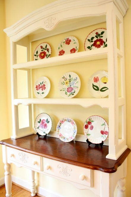 Blue Ridge Antique Pottery in a Farmhouse Hutch