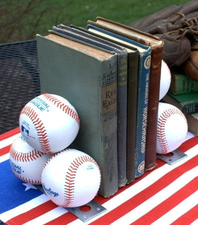 Use baseballs to make bookends. Get the step-by-step tutorial to make these for the baseball lover in your life. #baseball #baseballcraft #diy #diyproject
