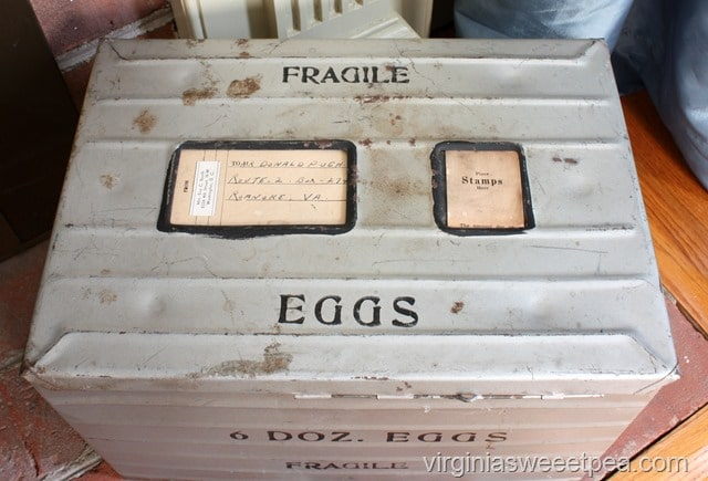 Antique Egg Shipping Crate - Eggs were shipped in crates like this from the family farm to family who lived in the city. virginiasweetpea.com