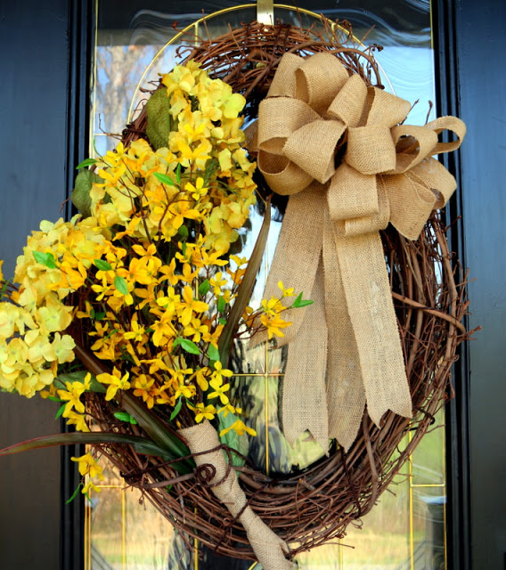 Burlap and Grapevine Wreath