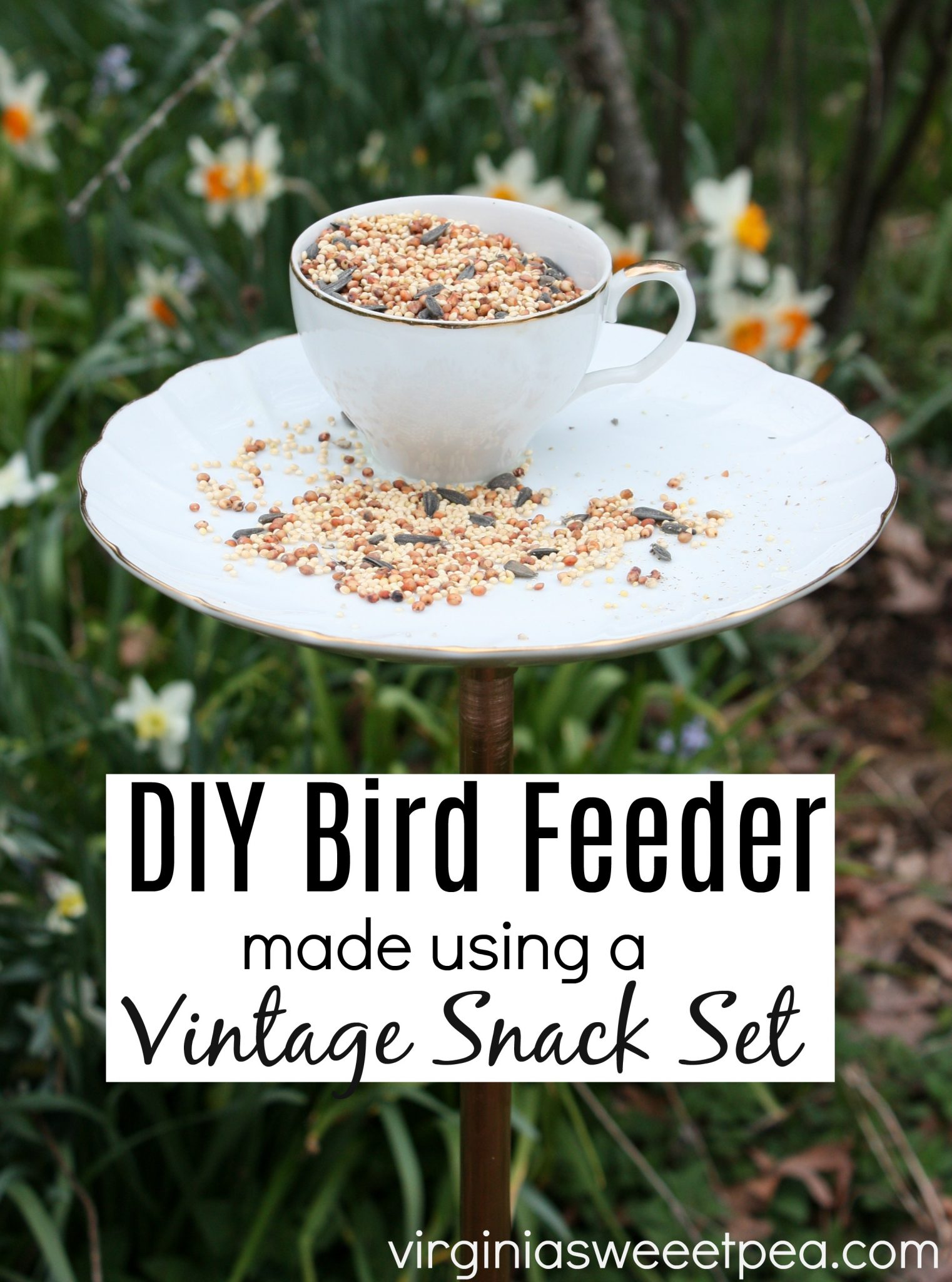 DIY Bird Feeder Made Using a Vintage Snack Set - Thrift shops frequently have vintage snack sets available. Learn how to use one to make a bird feeder for your yard or flower bed. #diybirdfeeder #birdfeeder #vintagesnackplate #virginiasweetpea