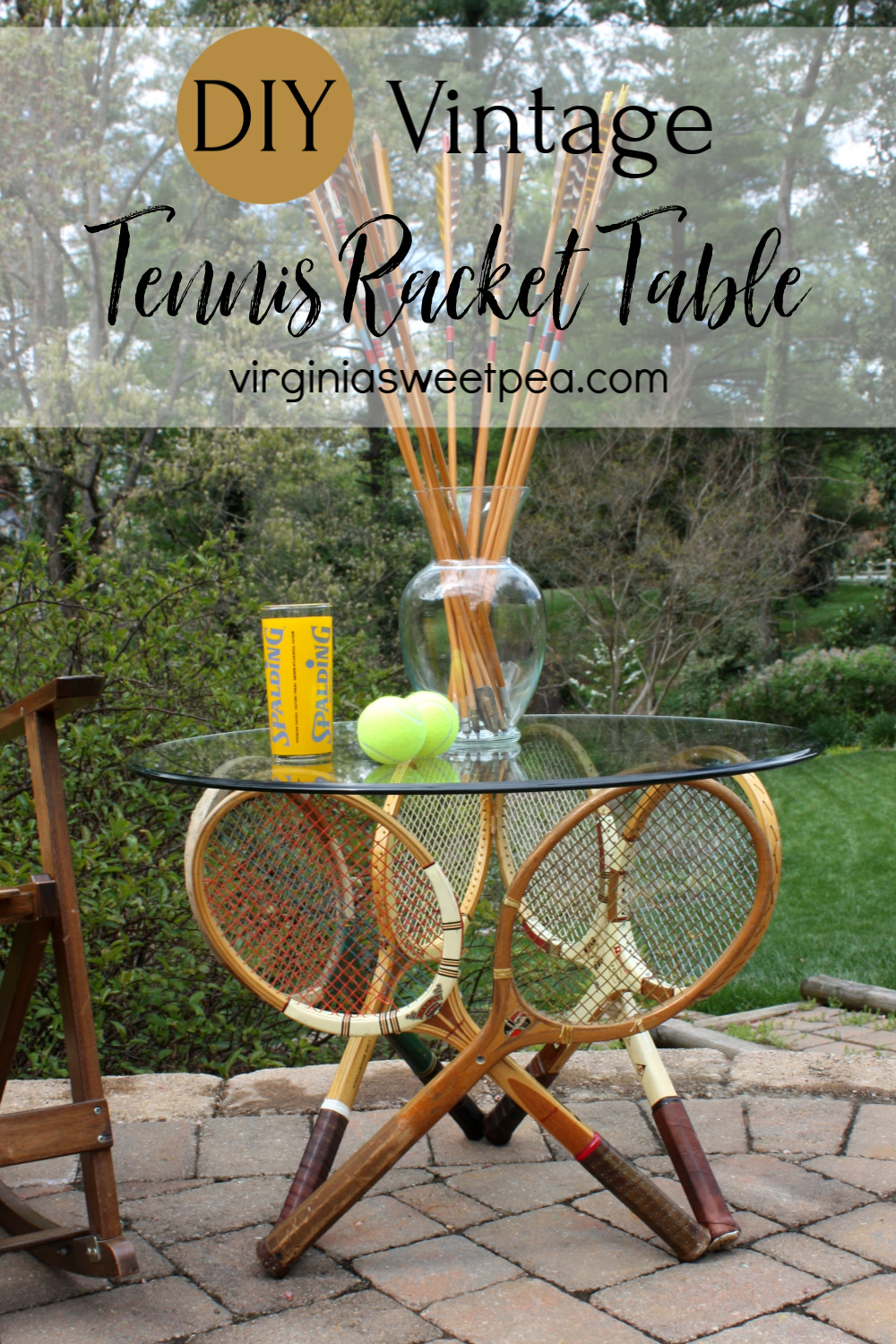 Vintage Tennis Racket Table - Learn how to make a table using six vintage tennis rackets.  #tennisracketproject #tennisracket #diytable #upcycleproject #repurposedprojecct via @spaula