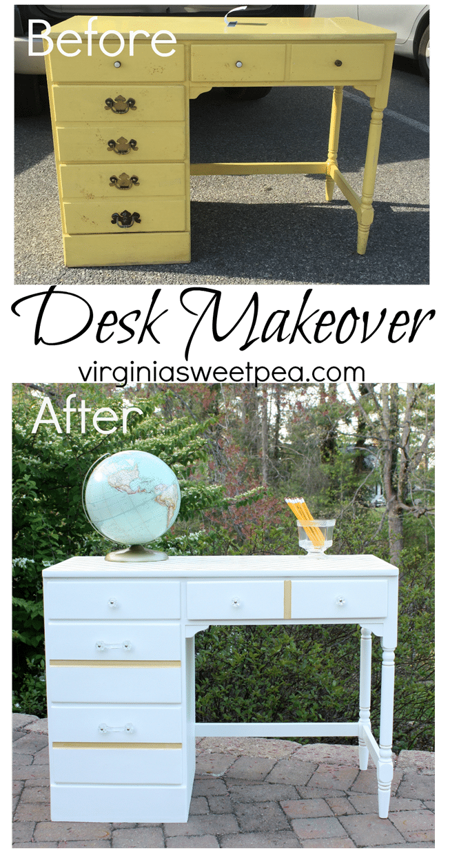 Desk Makeover - A Goodwill found desk gets a makeover with paint and glass knobs.  virginiasweetpea.com