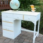 Desk Makeover in White and Gold