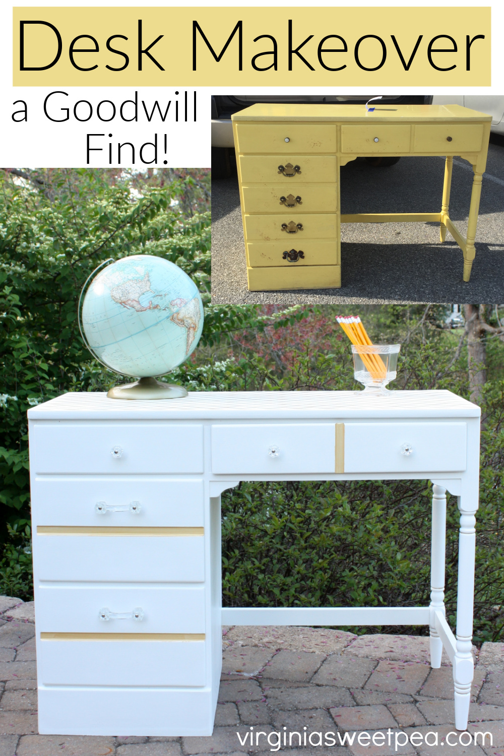 Goodwill Desk Makeover in White and Gold - A Goodwill found desk gets a feminine makeover with white and gold paint and glass knobs.  This beauty is now ready to be used and enjoyed for years to come.  #deskmakeover #ethanallen  via @spaula