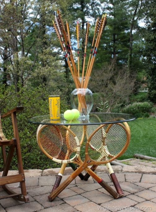 Vintage Tennis Racket Table - Make a table using vintage tennis rackets. #repurpose #upcycle #repurposedproject #diy #tennisracket