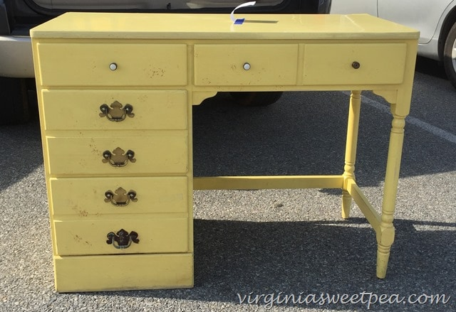 Vintage Ethan Allen yellow desk found at Goodwill