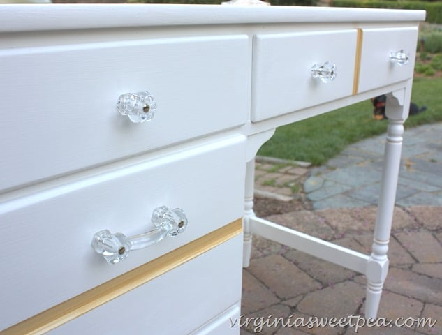 Clear glass pulls and knobs used on a desk makeover.  virginiasweetpea.com