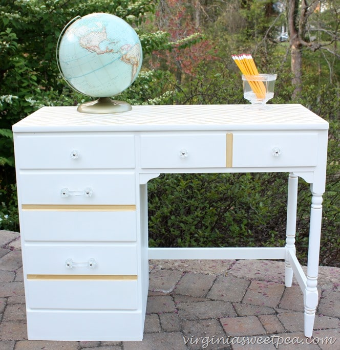 Vintage Ethan Allen desk painted white with gold accents
