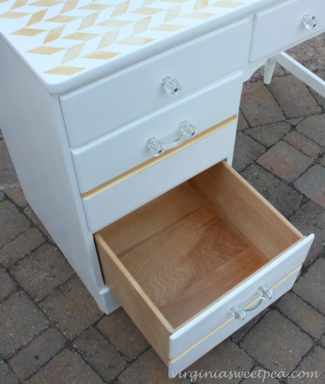 Ethan Allen Desk Makeover - Drawer Detail