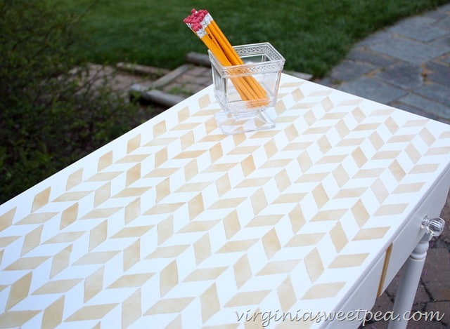 Herringbone stenciled desk top