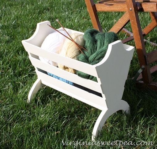 A knitting basket found at Goodwill gets a makeover with paint. virginiasweetpea.com