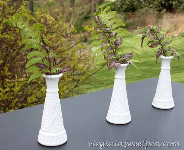 Vintage milk glass vases with fern fronds