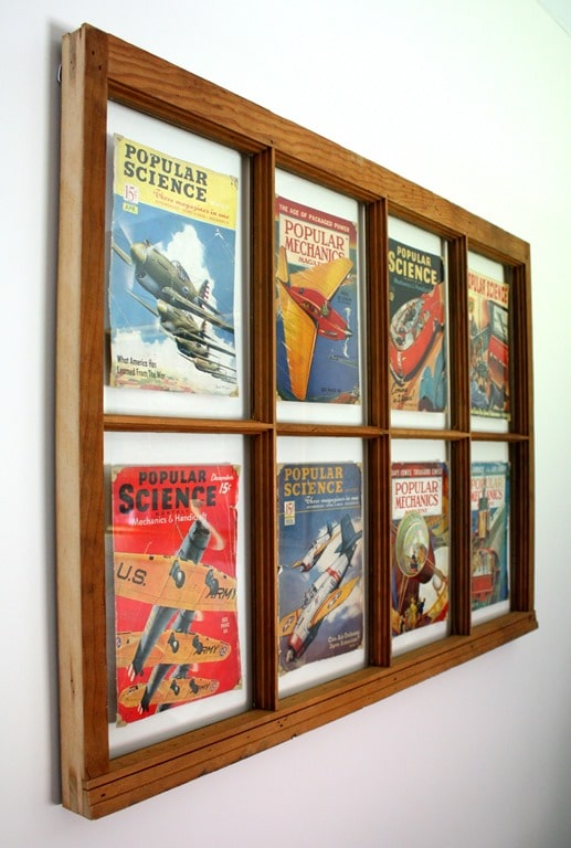 1938 - 1941 Popular Science and Popular Mechanics Magazines Framed with a Vintage Window