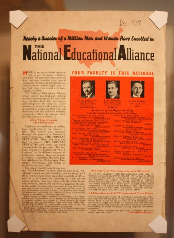 National Education Alliance Ad from December 1938