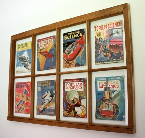 Use an Old Window to Display Vintage Popular Mechanics and Popular Science Magazine Covers