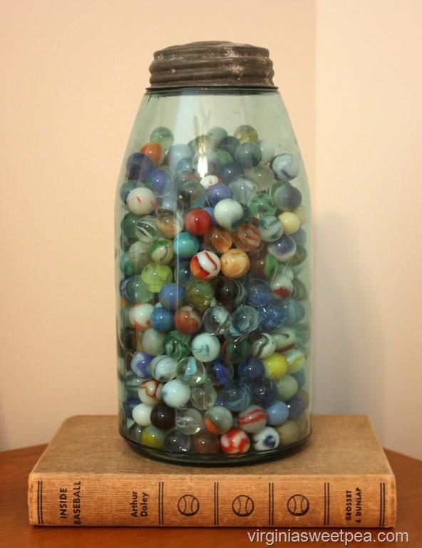 Vintage Marbles in a Mason Jar