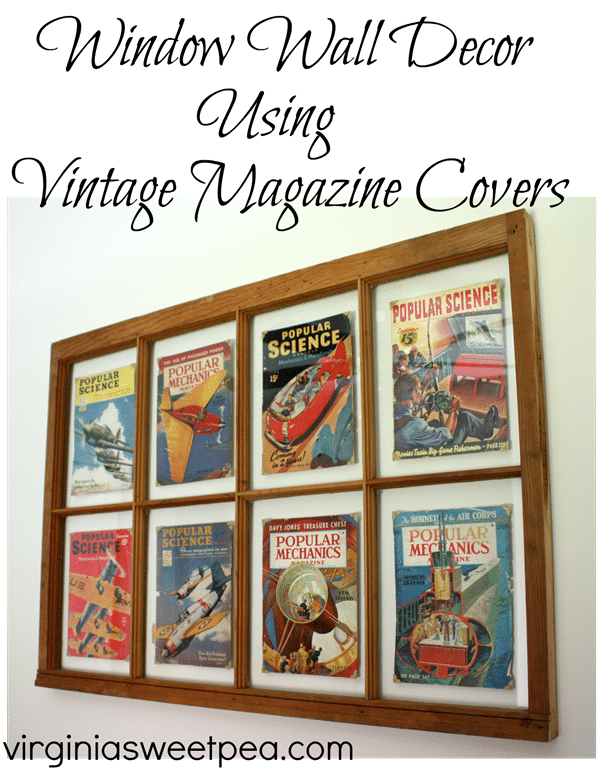 Vintage Popular Science and Popular Mechanics magazine covers displayed in a vintage window