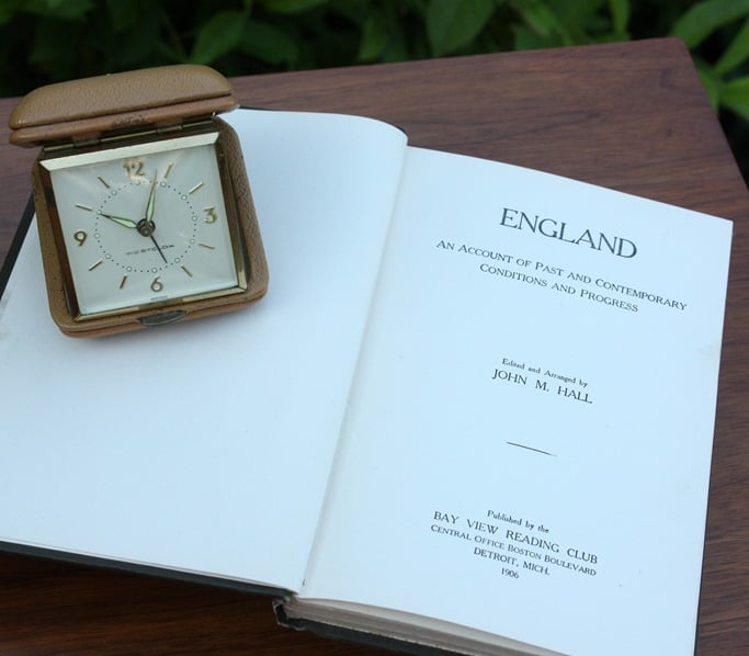 1906 England Book and Vintage Travel Clock