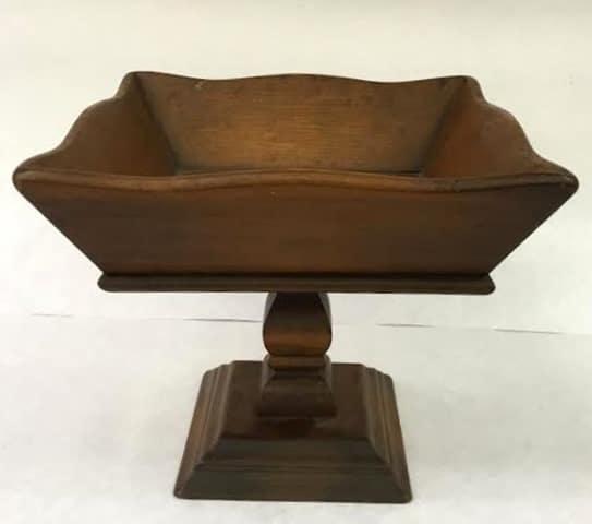 1970's Wooden Pedestal Bowl