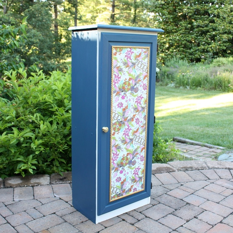 A Sauder Cabinet Gets A Makeover With Paint Rope Trim, And Decoupaged Gift  Wrap.